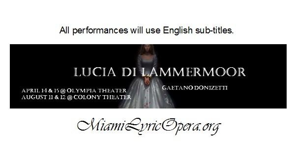 Miami Lyric Opera LUCIA DI LAMMERMOOR banner